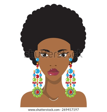 Beautiful African American woman with lovely hairstyle and earrings. Fashion model hand drawn design element,banner template,cartoon,female character.Vector Illustration - stock vector