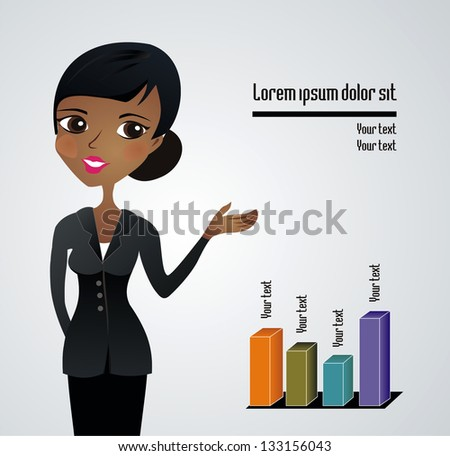 Beautiful African business woman presenting - stock vector
