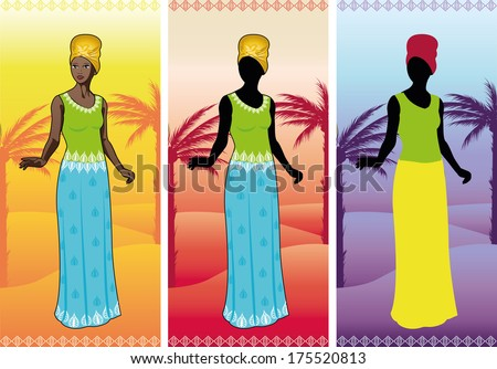 Beautiful african woman in authentic ethnic gown on background with thematical landscape color variation detailed figure and silhouette cartoon illustrations - stock vector