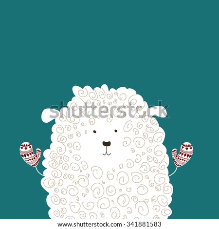Beautiful and adorable sheep with mittens. Winter style. Christmas theme vector illustration - stock vector