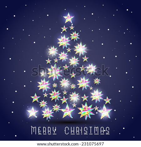 Beautiful and colorful stars decorated X-mas Tree on winter night background for Merry Christmas celebrations. - stock vector