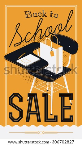 Beautiful and stylish vector 'Back to School Sale' decorative poster design or web banner template. Ideal for school season discounts and sales announcements for stores and shops - stock vector