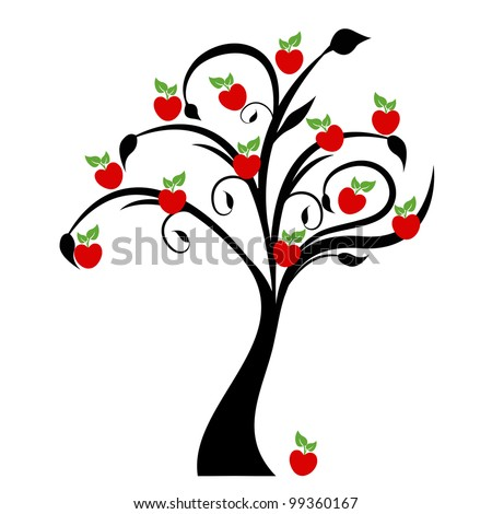 Beautiful apple tree isolated on white background - stock vector