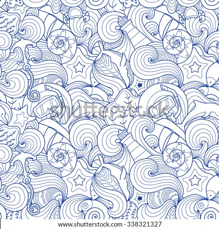 Beautiful aquatic doodle seamless pattern. Creative line art with marine elements: lighthouse, whale, boat, dolphin, star fish and others. - stock vector