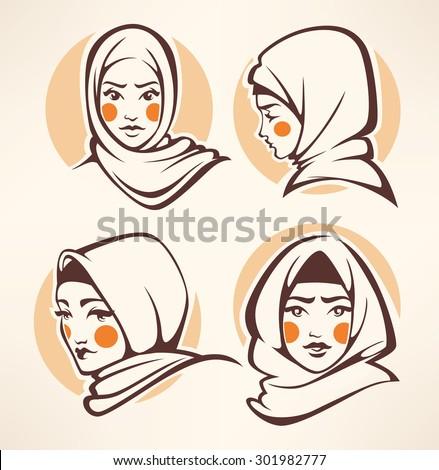 beautiful arabian girls collection - stock vector
