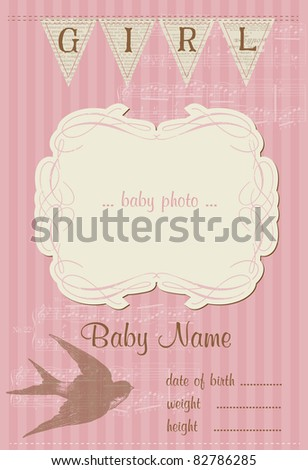 Beautiful Arrival Vintage Card - with place for your text and photo - stock vector