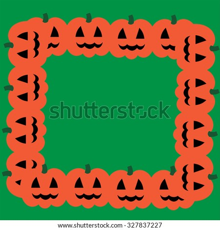 Beautiful art creative colorful halloween holiday wallpaper vector illustration of cover with frame of many orange smiling pumpkins on blank green background copy space - stock vector