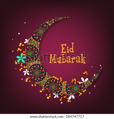 Beautiful artistic floral pattern decorated crescent moon for Islamic festival, Eid Mubarak celebration. - stock vector