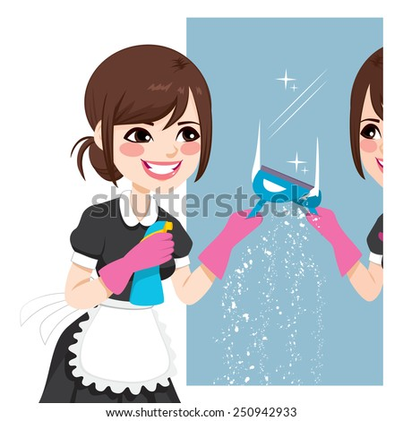 Beautiful Asian woman in maid dress working cleaning mirror using squeegee to wash mirror - stock vector