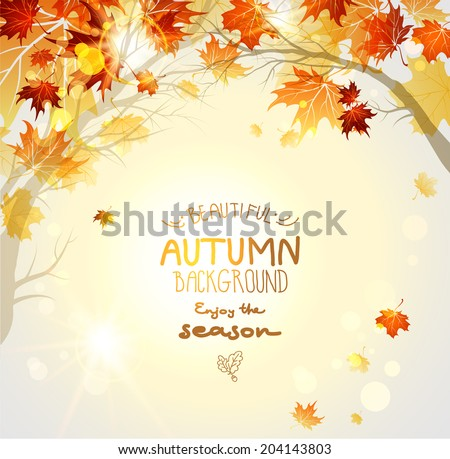 Beautiful autumn background with branches. Nature background with copy space. - stock vector