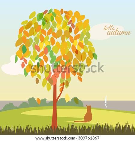 Beautiful autumn landscape, trees, leaves, sea, cat, vector, banner, illustration - stock vector
