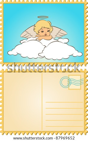 Beautiful baby angel with wings. Vector - stock vector