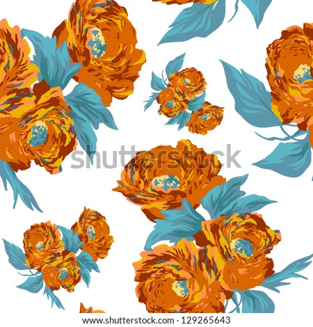 Beautiful background with a flower ornament.  Endless floral pattern. - stock vector