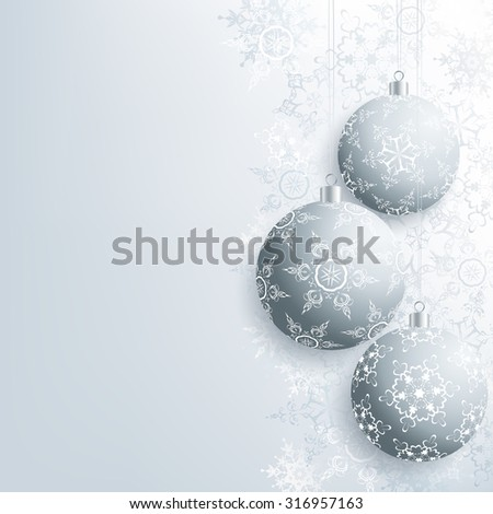 Beautiful background with gray Christmas balls and white, grey ornate stylized snowflakes. Stylish winter festive wallpaper for New Year and Christmas. Greeting, invitation card. Vector illustration. - stock vector