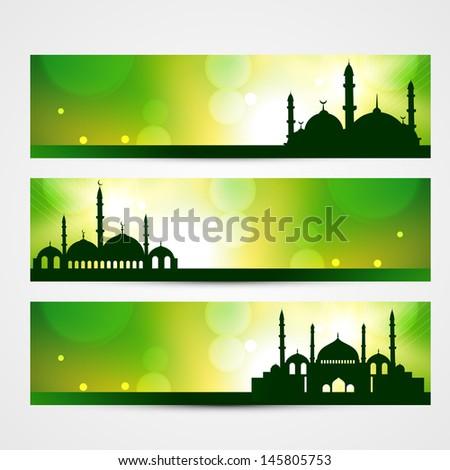beautiful banners of ramadan kareem and eid - stock vector