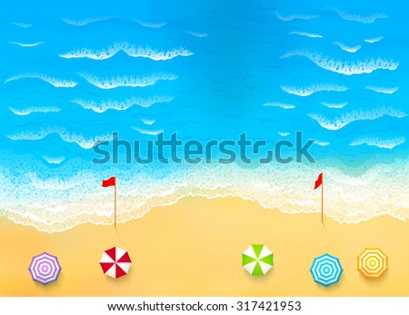 Beautiful beach with waves, rip current vector illustration - stock vector