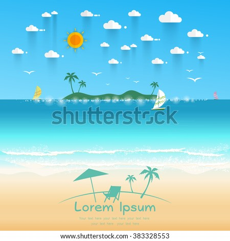 Beautiful beach with white sand, wave of sea, sailboat and sunrays. Text for travel agents. Summer offers Vector illustration - stock vector