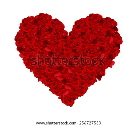 Beautiful big heart made of bunch open red color roses. Rose flower bouquet in heart shape - close up, symbol of love, passion and romantic, vector art image illustration, isolated on white background - stock vector