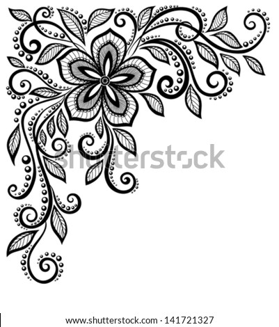 beautiful black-and-white lace flower in the corner. With space for your text and greetings. Many similarities in the profile of the artist - stock vector