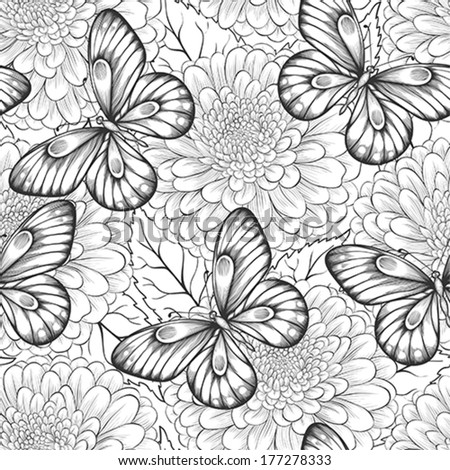 beautiful black and white seamless pattern with flowers and butterflies. Hand-drawn contour lines and strokes. Perfect for background greeting cards and invitations of the wedding, birthday - stock vector