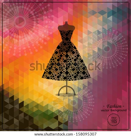Beautiful black lace dress on mannequin - stock vector