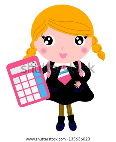 Beautiful blond school girl with calculator isolated on white - stock vector