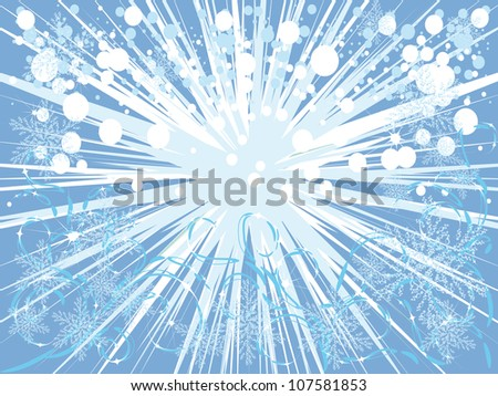 beautiful blue background with various winter elements, Vector illustration - stock vector
