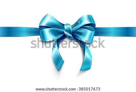 Beautiful blue bow. Vector - stock vector
