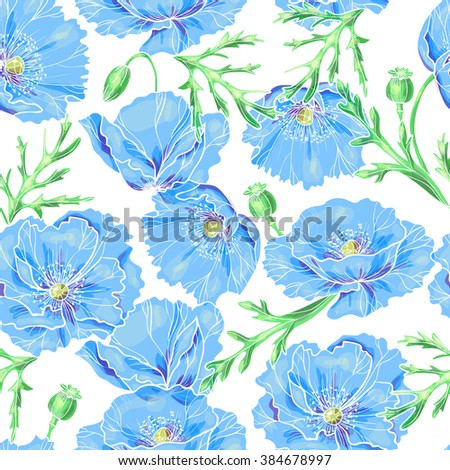 Beautiful blue poppies on a white background.Vector seamless pattern - stock vector