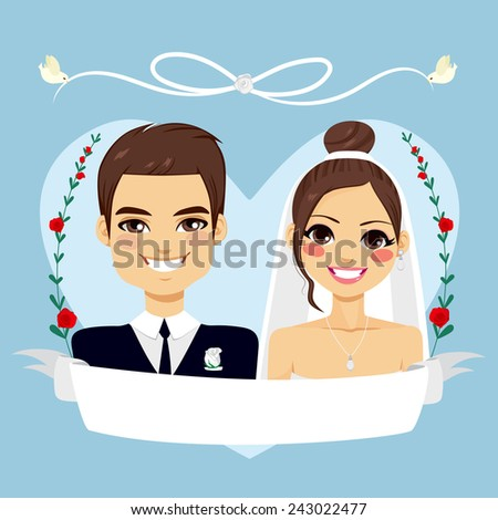 Beautiful blue Save The Date design composition showing brunette couple portrait with empty banner and birds flying holding white lace - stock vector