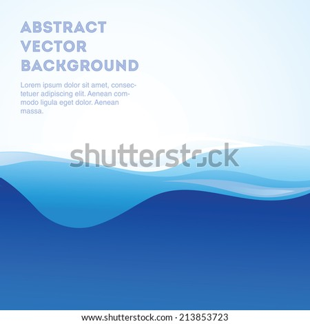 Beautiful blue vector water background. Editable eps 10 illustration. - stock vector