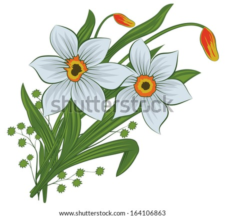 Beautiful bouquet of brightly colorful spring flowers,yellow tulips and white daffodils - vector version - stock vector