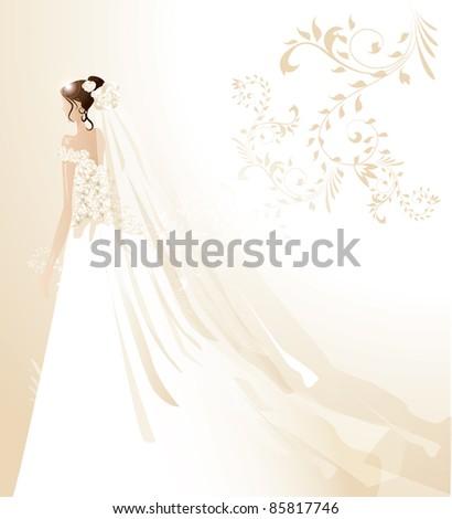 Beautiful bride - stock vector