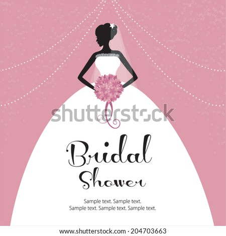 Beautiful bride holding a flower bouquet. Bridal shower invitation, wedding. - stock vector