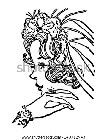 Beautiful Bride - Retro Clip Art Illustration - stock vector