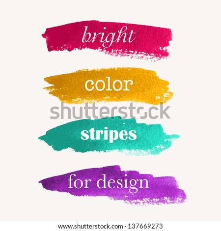 Beautiful bright watercolor stripes. Vector illustration - stock vector