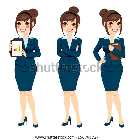 Beautiful brunette businesswoman with hair bun posing on three different full body poses isolated on white background - stock vector