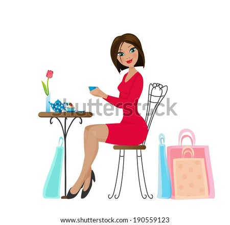 Beautiful brunette girl in red dress drinking coffee or tea with a cupcake in cafe, resting after shopping with bags.  - stock vector