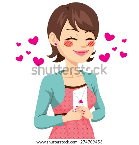 Beautiful brunette woman holding love letter with her hands - stock vector