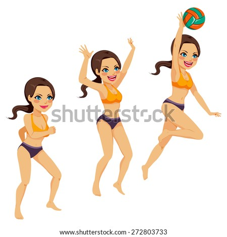 Beautiful brunette woman playing volleyball doing three smash action poses - stock vector