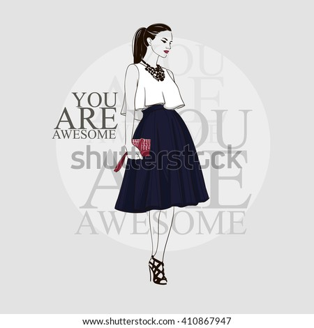 Beautiful brunette young women in white blouse, black high heel shoes and dark blue midi skirt with handbag. Vector hand drawn illustration. - stock vector