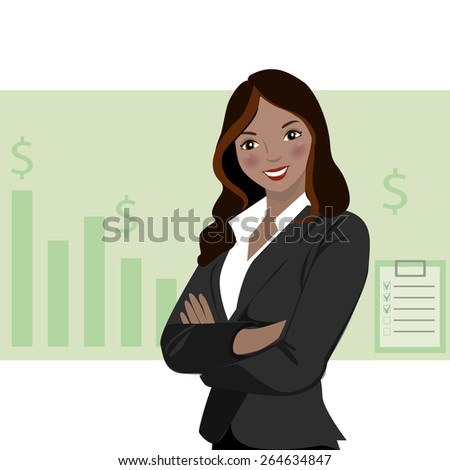 Beautiful business woman wearing a suit  with chart background - stock vector