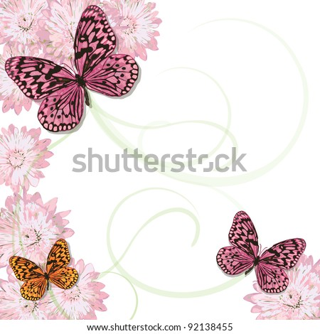 Beautiful Butterflies with soft swirl pattern and pink daisies. Plenty of copy space - stock vector