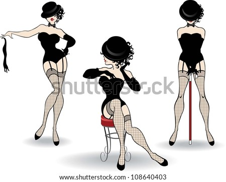 Beautiful cabaret girls pose on the stage - stock vector