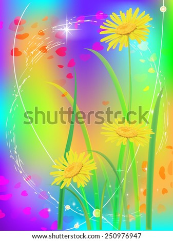 Beautiful camomiles with hearts. Vector of spring background with gradient and radiance. - stock vector