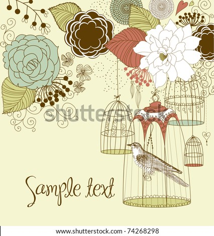Beautiful card with a bird in the cage - stock vector
