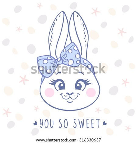Beautiful card with cute and sweet cartoon bunny with a bow on head. Vector illustration - stock vector