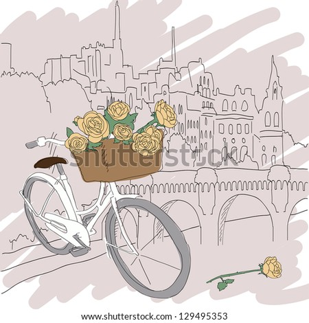 Beautiful card with pretty bicycle and yellow roses on city background - stock vector