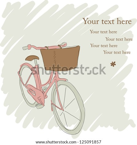 Beautiful card with pretty pink bicycle - stock vector