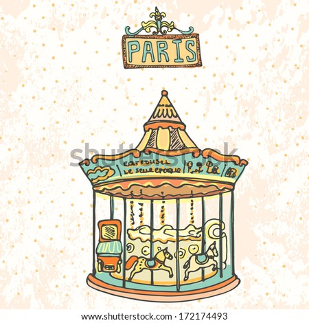 Beautiful carrousel with horses in Paris on vintage background.  - stock vector